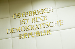 "29.06.2016, Verfassungsgerichtshof, Wien, AUT, Öffentliche Verhandlung zur Anfechtung der BP-Wahl durch die FPÖ, im Bild Feature ""Österreich ist eine demokratische Republik"" // before public trial according to challenging the presidential election 2016 by the austrian freedom party at Austrian Constitutional Court in Vienna, Austria on 2016/06/29, EXPA Pictures © 2016, PhotoCredit: EXPA/ Michael Gruber"