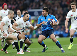 26 February 2017 : 6 Nations Rugby : England v Italy :<br /> Giovanbattista Venditti of Italy finds himself isolated amongst the English defenders.<br /> Photo: Mark Leech