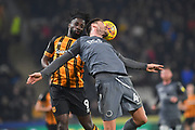 Hull City forward Nouha Dicko (9) and Millwall midfielder Ben Marshall (44) during the EFL Sky Bet Championship match between Hull City and Millwall at the KCOM Stadium, Kingston upon Hull, England on 26 February 2019.