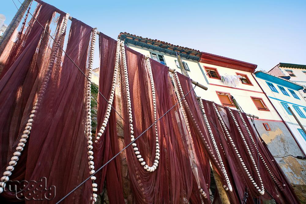 Fishing nets in fishing town of Cudillero Asturias Spain