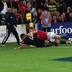 Ngani Laumape scores during game 9 of the British and Irish Lions 2017 Tour of New Zealand, the second Test match between  The All Blacks and British and Irish Lions, Westpac Stadium, Wellington, Saturday 1st July 2017<br /> (Photo by Kevin Booth Steve Haag Sports)<br /> <br /> Images for social media must have consent from Steve Haag