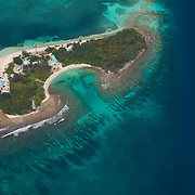 Aerial of Hunting Caye, part of the Sapodilla Cayes Marine Reserve, Belize