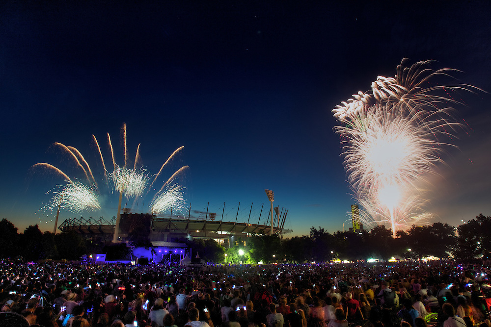 New years eve fireworks at Yarra Park. Pic By Craig Sillitoe CSZ/The Sunday Age.31/12/2011 melbourne photographers, commercial photographers, industrial photographers, corporate photographer, architectural photographers, This photograph can be used for non commercial uses with attribution. Credit: Craig Sillitoe Photography / http://www.csillitoe.com<br /> <br /> It is protected under the Creative Commons Attribution-NonCommercial-ShareAlike 4.0 International License. To view a copy of this license, visit http://creativecommons.org/licenses/by-nc-sa/4.0/.