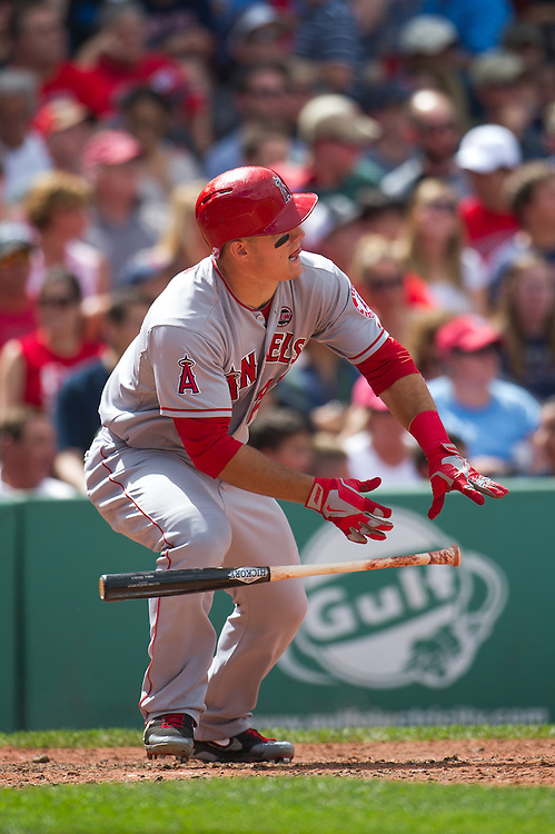 BOSTON, MA - JUNE 09: Mike Trout #27 of the Los Angeles Angels bats during the game against the Boston Red Sox at Fenway Park in Boston, Massachusetts on June 9, 2013. (Photo by Rob Tringali) *** Local Caption *** Mike Trout