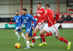 Jon Taylor of Peterborough United gets away from Crewe Alexandra's James Jones and Oliver Turton - Mandatory byline: Joe Dent/JMP - 07966 386802 - 21/11/2015 - FOOTBALL - Alexandra Stadium - Crewe, England - Crewe Alexandra v Peterborough United - Sky Bet League One
