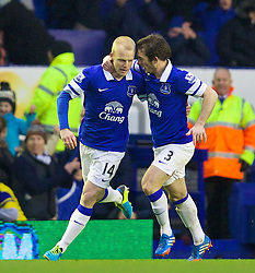 LIVERPOOL, ENGLAND - Saturday, February 1, 2014: Everton's Steven Naismith celebrates scoring the first goal against Aston Villa with team-mate Leighton Baines during the Premiership match at Goodison Park. (Pic by David Rawcliffe/Propaganda)