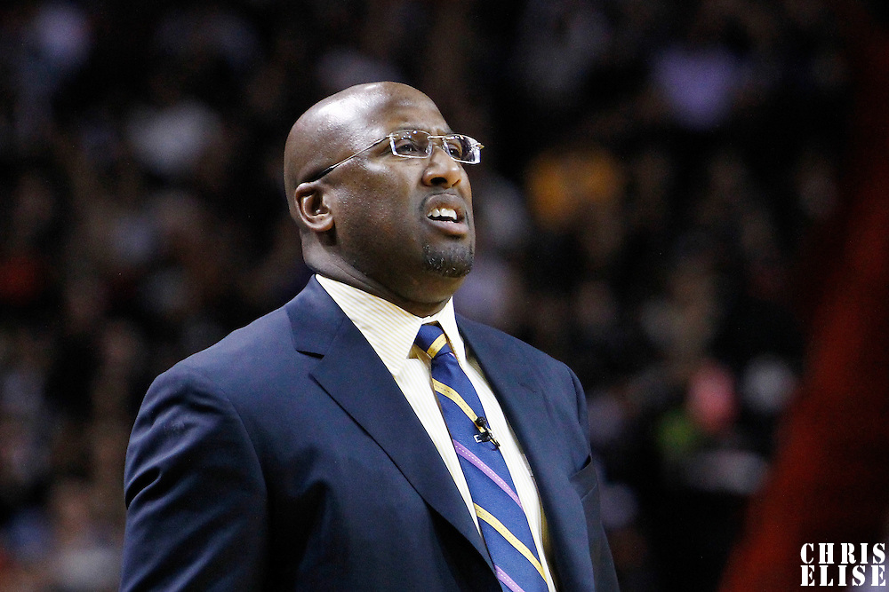 19 January 2012: Los Angeles Lakers head coach Mike Brown looks dejected during the Miami Heat 98-87 victory over the Los Angeles Lakers at the AmericanAirlines Arena, Miami, Florida, USA.