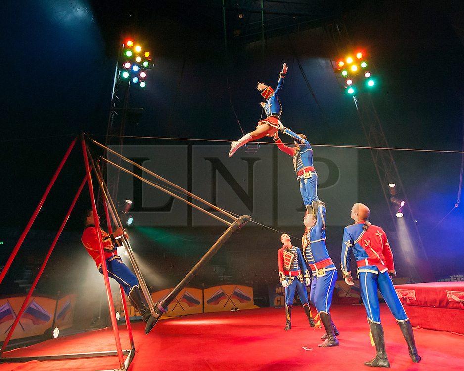 © Licensed to London News Pictures. 04/06/14 Fulham. UK. Olga Siamionava rehearsing for the Moscow State Circus which is performing at The Lillie Road Recreation Ground, Fulham, London on June 04 2014. Performances run until the 8th June. Photo credit : Arnaud Stephenson/LNP