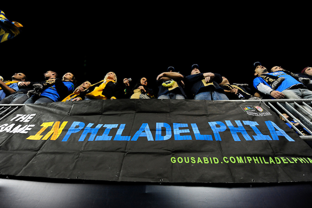 Members of the Sons of Ben - the Philadelphia Union supporters group display a banner stating their support for the USA 2022 World Cup bid. October 8, 2010.