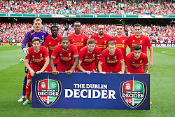 10.08.2013, Aviva Stadium, Dublin, Essen, IRL, Testspiel, Glasgow Celtic vs FC Liverpool, im Bild Liverpool line up to face Glasgow Celtic during a friendly match between Glasgow Celtic vs Liverpool FC at the Aviva Stadium in Dublin, Ireland on 2013/08/10. EXPA Pictures &copy; 2013, PhotoCredit: EXPA/ Propagandaphoto/ David Rawcliffe<br /> <br /> ***** ATTENTION - OUT OF ENG, GBR, UK *****