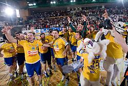Players of Cimos Koper (Nejc Poklar, Damir Doborac, Zoran Jovicic) celebrate at Men Slovenian Handball Cup, final match between RK Cimos Koper and RK Celje Pivovarna Lasko, on April 19, 2009, in Arena Bonifika, Koper, Slovenia. Cimos Koper won 24:19 and became Slovenian Cup Champion. (Photo by Vid Ponikvar / Sportida)