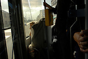 Woman on the coastal tram, Belgium