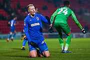 AFC Wimbledon forward Joe Pigott (39) reacts during the The FA Cup match between Doncaster Rovers and AFC Wimbledon at the Keepmoat Stadium, Doncaster, England on 19 November 2019.