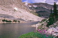 Lookout Lake and the Snowy Range of the Medicine Bow Mountains.  Wyoming, USA.