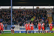 Macclesfield Town fans celebrate Kristian Dennis goal during the The FA Cup match between Portsmouth and Macclesfield Town at Fratton Park, Portsmouth, England on 7 November 2015. Photo by Adam Rivers.