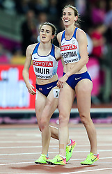 London, 2017 August 07. Laura Muir, Great Britain, and Laura Weightman, Great Britain, after Muir's narrow defeat for bronze in the women's 1,500m final on day four of the IAAF London 2017 world Championships at the London Stadium. © Paul Davey.