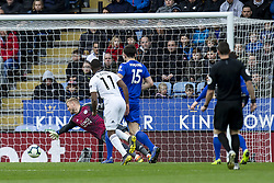 March 9, 2019 - Leicester, Leicestershire, United Kingdom - Floyd Ayite of Fulham FC scores to send the game all level during the Premier League match between Leicester City and Fulham at the King Power Stadium, Leicester on Saturday 9th March 2019. (Credit Image: © Mi News/NurPhoto via ZUMA Press)