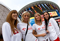 Girls in front of the Arena Spodek before the EuroBasket 2009 Quaterfinals match between Russia and Serbia, on September 17, 2009 in Arena Spodek, Katowice, Poland.  (Photo by Vid Ponikvar / Sportida)