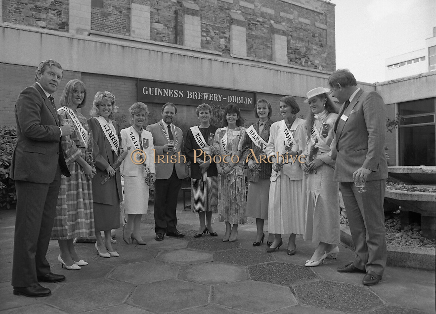 Roses of Tralee at Guinness Brewery..1986.20.08.1986..08.20.1986..20th August 1986..As part of the 50th running of the Rose Of Tralee Festival the thirty Rose contestants were invited to The Guinness Brewery,St James's Gate,Dublin. At the reception in their honour, Mr Pat Healy,Sales Director,Guinness Group Sales,welcomed the roses at the Guinness Reception Centre..Extra: Ms Noreen Cassidy,representing Leeds,went on to win the title of 'Rose Of Tralee'...Ireland contestants in the Rose Of Tralee Festival pose for pictures at the guinness reception. The Chairman of the Organising Committee,is in the centre of the group...The Jersy Rose poses for pictures at the Guinness reception.
