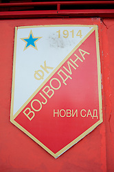 NOVI SAD, SERBIA - Monday, September 10, 2012: The club badge of FC Vojvodina at the Karadorde Stadium ahead of the 2014 FIFA World Cup Brazil Qualifying Group A match against Serbia. (Pic by David Rawcliffe/Propaganda)
