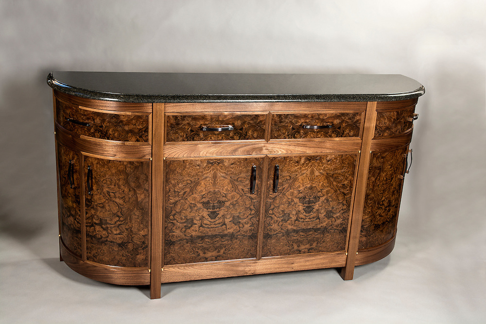 Black Walnut credenza, with black pearl granite and copper handles