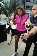 Serena Williams arrives at the Nike Youth Tennis  Challenge held at The Nike -Built regulation Tennis Court  on West 23rd Street & Broadway in New York  City . ..Hundreds of tennis fans and youth form New York  Parks and Rec. Athlethes for Charity, and Mentoring USA are treating to tips and guidance from Tennis Pros Roger Federer, Rafael Nadal and Serena Williams...