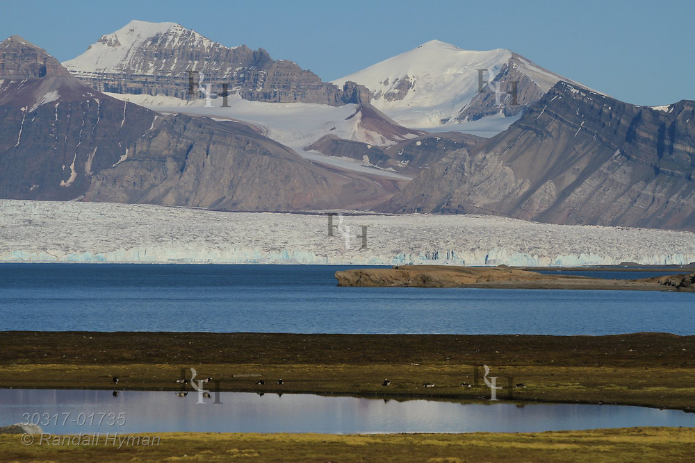 Distant glaciers loom at far end of Kongsfjorden in view from international science village of Ny-Alesund in July; Spitsbergen, Svalbard, Norway.