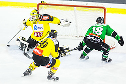 02.11.2014, Hala Tivoli, Ljubljana, SLO, EBEL, HDD Telemach Olimpija Ljubljana vs UPC Vienna Capitals, 16. Runde, in picture Rok Leber (HDD Telemach Olimpija, #18) vs David Kickert (UPC Vienna Capitals, #30) during the Erste Bank Icehockey League 16. Round between HDD Telemach Olimpija Ljubljana and UPC Vienna Capitals at the Hala Tivoli, Ljubljana, Slovenia on 2014/11/02. Photo by Matic Klansek Velej / Sportida