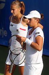 Polona Hercog of Slovenia and Marina Erakovic of New Zeland  in Doubles at 3rd Round of Banka Koper Slovenia Open 2008, on July 23, 2008, Portoroz - Portorose, Slovenia. (Photo by Vid Ponikvar / Sportal Images)...