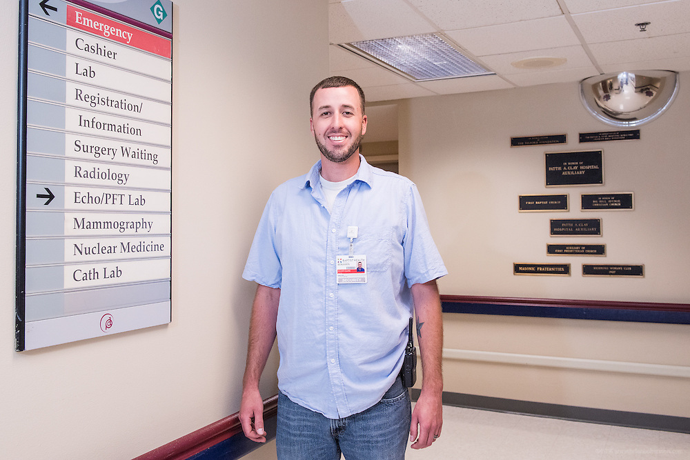 Security Guard Benjamin McClure, photographed Wednesday, May 20, 2015, at Baptist Health in Richmond, Ky. (Photo by Brian Bohannon/Videobred for Baptist Health)