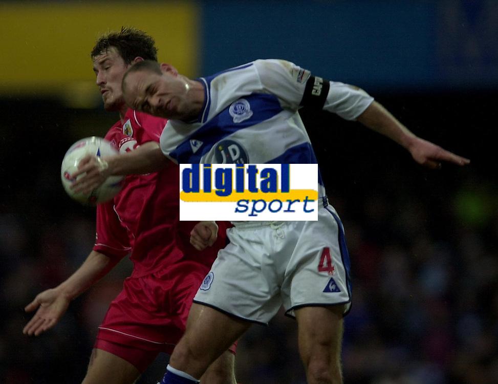 © Peter Spurrier/ SportsBeat Images  020 8 876 8611<br />Photo Peter Spurrier<br />08/03/2003 Football Nationwide Div 2 - QPR v Bristol City<br />Tommy Doherty left and Steve Palmer
