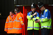 Stewards and police officers during the EFL Sky Bet League 1 match between Walsall and Shrewsbury Town at the Banks's Stadium, Walsall, England on 7 October 2017. Photo by John Potts.