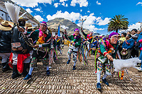 Pisac, Peru - July 16, 2013: Virgen del Carmen parade in the peruvian Andes at Pisac Peru on july 16th, 2013