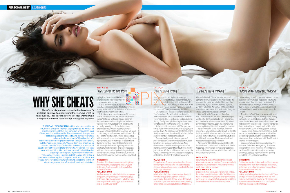 Some interesting insights into why women cheat, in the March issue of Men's Health Magazine Australia.  <br />