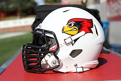 19 October 2013:  Illionis State Redbird football helmut during an NCAA football game between the Indiana State Sycamores and the Illinois State Redbirds at Hancock Stadium in Normal IL