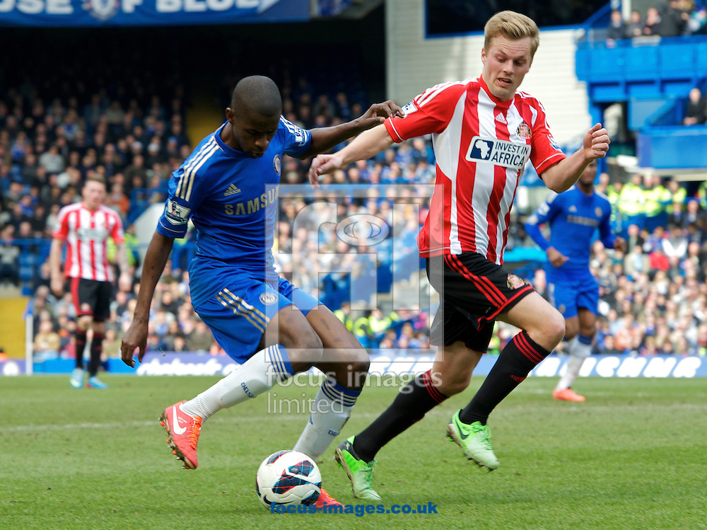 Picture by Alan Stanford/Focus Images Ltd +44 7915 056117.07/04/2013.Ramires of Chelsea and Sebastian Larsson of Sunderland during the Barclays Premier League match at Stamford Bridge, London.