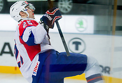 Robert Sabolic of Slovenia celebrates after he scores  during ice-hockey match between Slovenia and Ukraine at IIHF World Championship DIV. I Group A Slovenia 2012, on April 19, 2012 in Arena Stozice, Ljubljana, Slovenia. Slovenia defeated Ukraine 3-2. (Photo by Vid Ponikvar / Sportida.com)