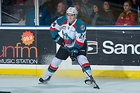 KELOWNA, CANADA - JANUARY 5: Kyle Topping #24 of the Kelowna Rockets stops on the ice with the puck against the Seattle Thunderbirds on January 5, 2017 at Prospera Place in Kelowna, British Columbia, Canada.  (Photo by Marissa Baecker/Shoot the Breeze)  *** Local Caption ***