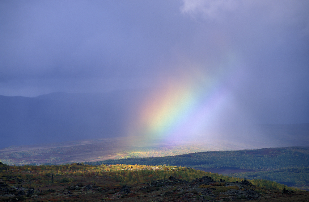 Rainbow along Dalton Highway, Brooks Range, Alaska, USA