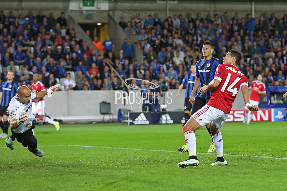 Javier Hernández of Manchester United hits the ball over the bar from close range during the Champions League Qualifying Play-Off Round match between Club Brugge and Manchester United at the Jan Breydel Stadion, Brugge, Belguim on 26 August 2015. Photo by Phil Duncan.