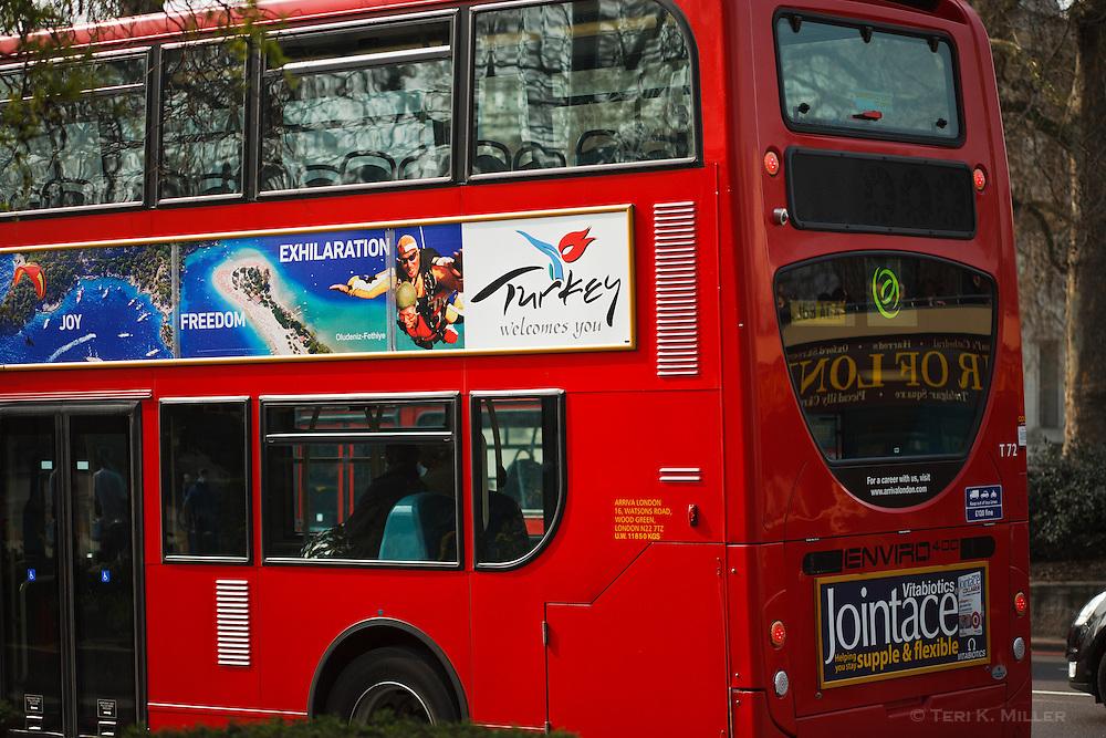 Double decker bus outside of Green Park, London, England.
