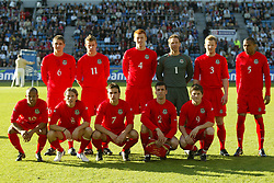 OSLO, NORWAY - Thursday, May 27, 2004:  Wales' team line-up before the International Friendly match at the Ullevaal Stadium, Oslo, Norway. Back row l-r: Carl Robinson, Paul Parry, James Collins, Danny Coyne, Ben Thatcher, Daniel Gabbidon. Front row l-r: Robert Earnshaw, Craig Bellamy, Carl Fletcher, Mark Delaney, John Oster. (Photo by David Rawcliffe/Propaganda)