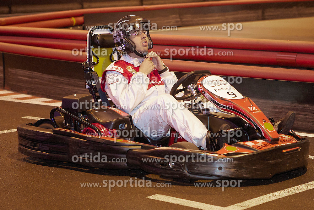 20.10.2011, Real Madrid, Audi's car giving show,im Bild Real Madrid's Karim Benzema races a cart during AUDI's car giving show. October 18, 2011  // during the Audi's car giving show to real madrid players on 20/10/2011. EXPA Pictures © 2011, PhotoCredit: EXPA/ Alterphoto/ Alvaro Hernandez +++++ ATTENTION - OUT OF SPAIN/(ESP) +++++