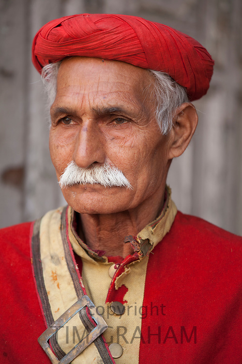Hindu temple guard in holy city of Varanasi, Benares, India