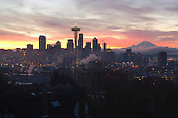 Seattle at sunrise with Mt Rainier in the distance Washington USA&#xA;<br />