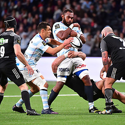 Leone Nakarawa of Racing 92 loses the ball after being tackled by Mike Tadjer of Brive (2) during the French Top 14 match between Racing 92  and Brive at U Arena on March 3, 2018 in Nanterre, France. (Photo by Dave Winter/Icon Sport) - Mike TADJER - Leone NAKARAWA - Paris (France)