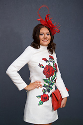LIVERPOOL, ENGLAND - Thursday, April 6, 2017: Lusy Wilson, 20 from Kendall, wearing a dress from Lipsy, during The Opening Day on Day One of the Aintree Grand National Festival 2017 at Aintree Racecourse. (Pic by David Rawcliffe/Propaganda)