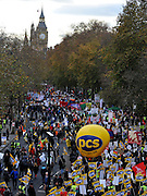 © Licensed to London News Pictures. 30/11/2011, London, UK. The march comes to an end on Victoria Embankment. Up to two million public sector workers are staging a strike over pensions in what is set to be the biggest walkout for a generation. Photo credit : Stephen Simpson/LNP