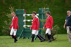 Team Belgium: Lansink Jos (BEL), Demeersman Dirk (BEL), Spits Patrick (BEL), Guerdat Philippe (SUI)<br /> The Longines Royal International Horse Show<br /> Hickstead 2011<br /> © Hippo Foto - Beatrice Scudo