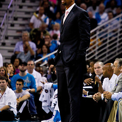 October 27, 2010; New Orleans, LA, USA; New Orleans Hornets head coach Monty Williams watches from the bench during the second quarter against the Milwaukee Bucks at the New Orleans Arena. Mandatory Credit: Derick E. Hingle